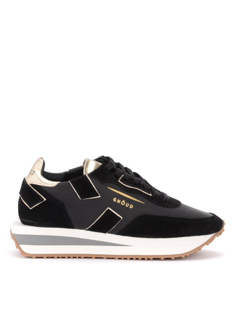 GHOUD Rush X Sneaker In Black Leather And Suede With Platinum Details - MULTICOLOR