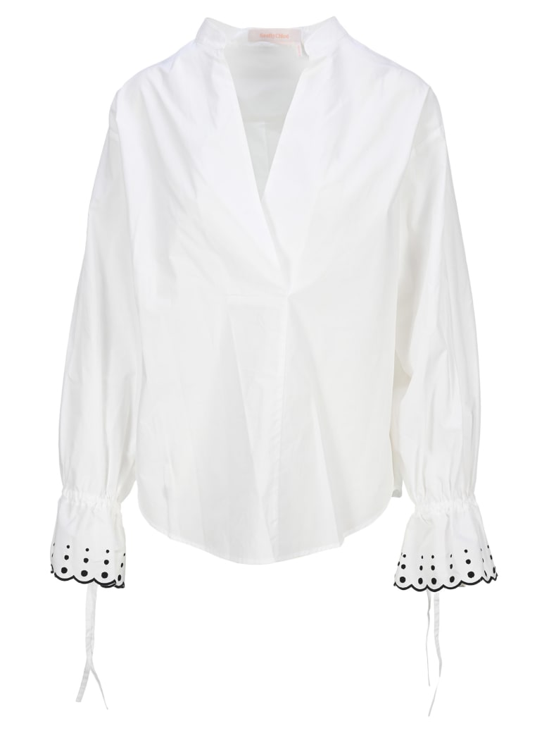 See by Chloé See By Chloe' Flared Cuff Blouse - WHITE