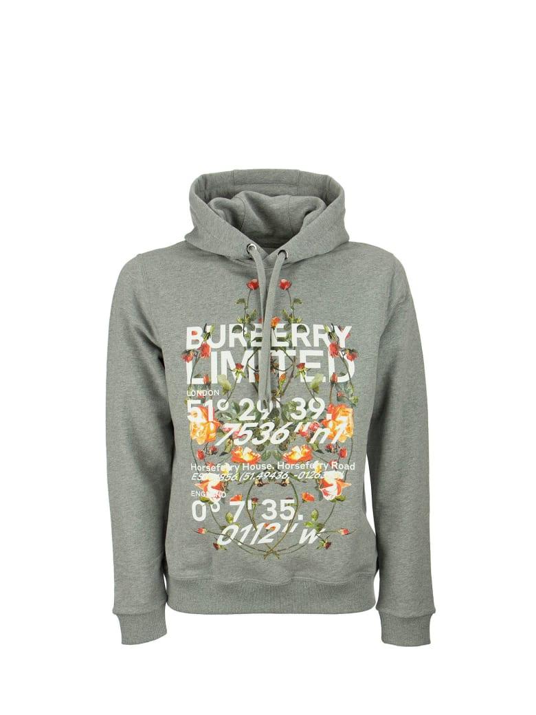 Burberry Lyleford - Montage Print Cotton Hoodie - Pale Grey Melange