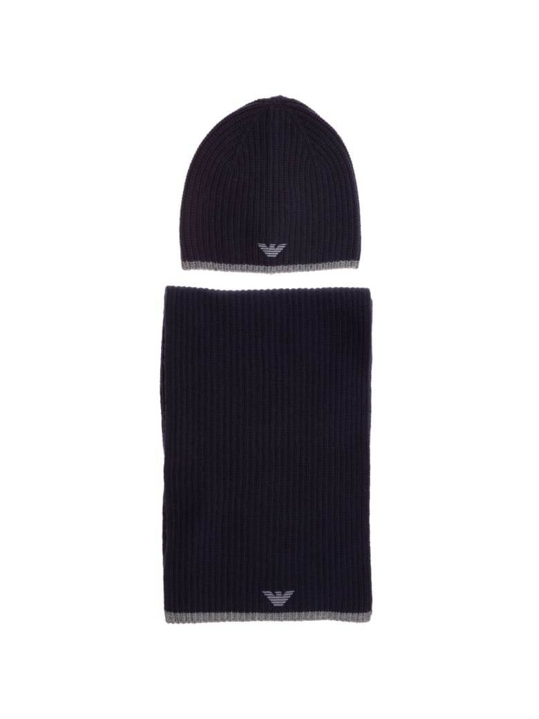 Emporio Armani Double Question Mark Hat And Scarf - Navy blue
