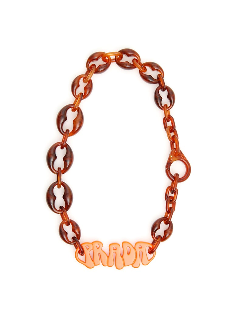 Prada Plexi Logo Necklace - BRUCIATO TARTARUGA (Orange)