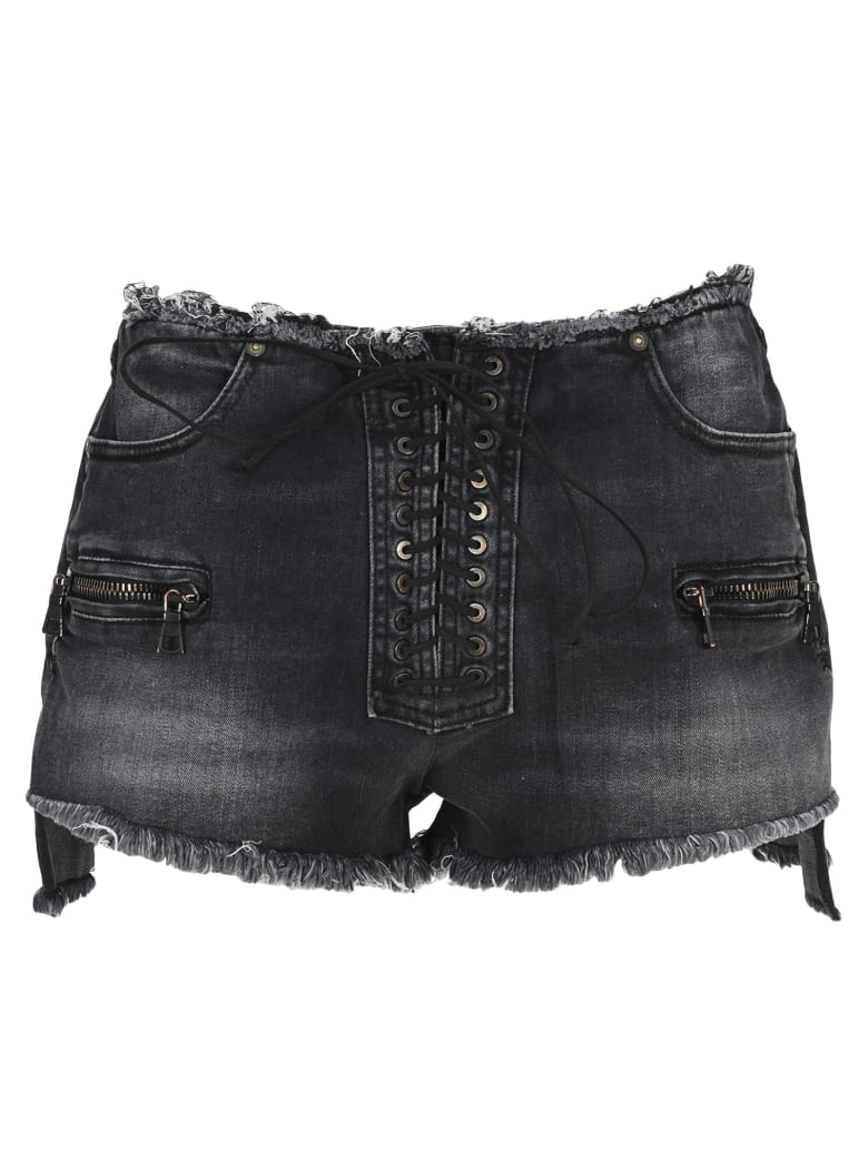 Ben Taverniti Unravel Project Unravel Lace-up Denim Shorts - Black