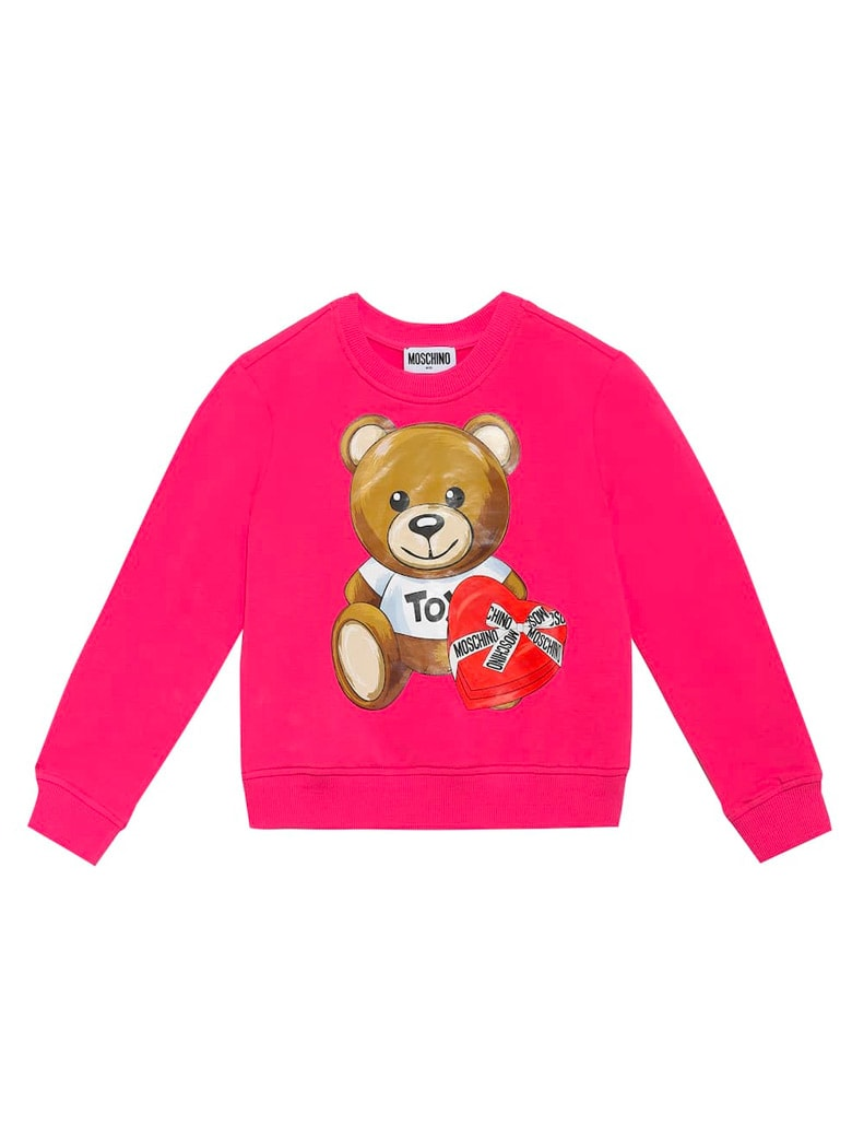 Moschino Crew Neck Sweatshirt With Fuchsia Bear Print - Fuchsia