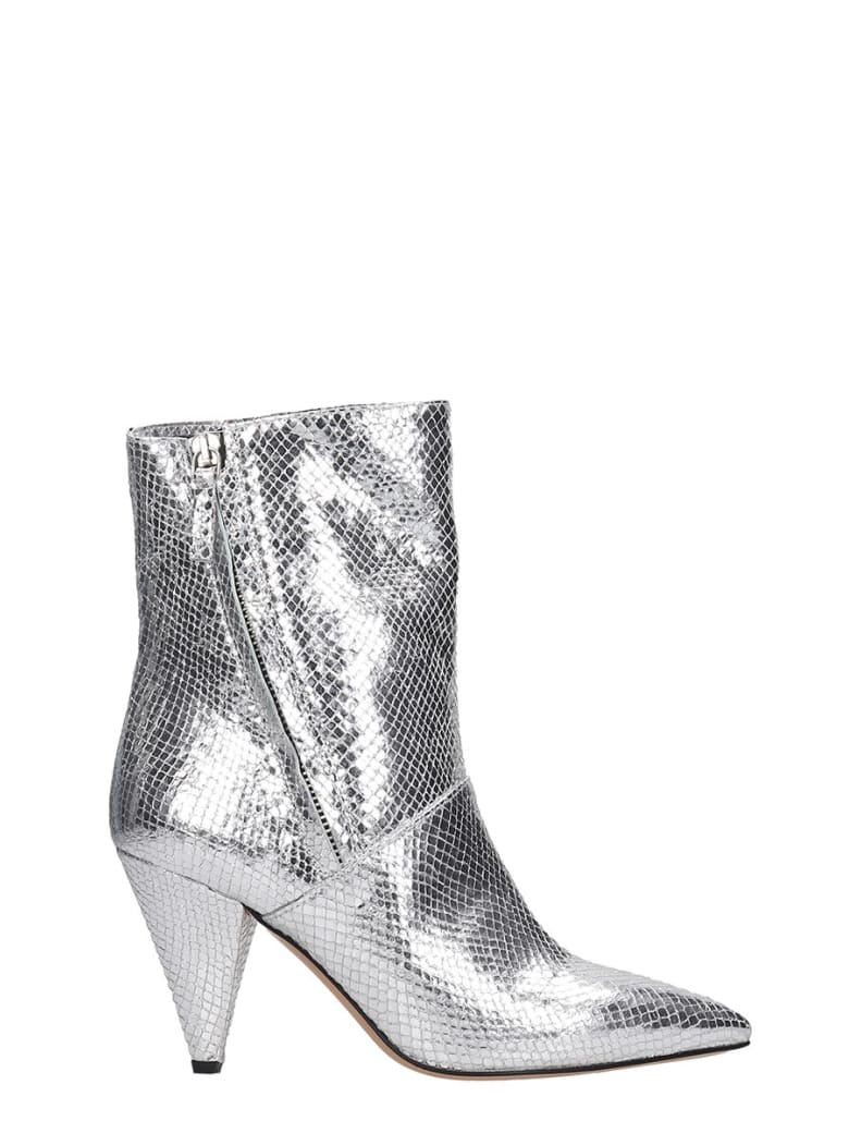The Seller High Heels Ankle Boots In Silver Leather - silver