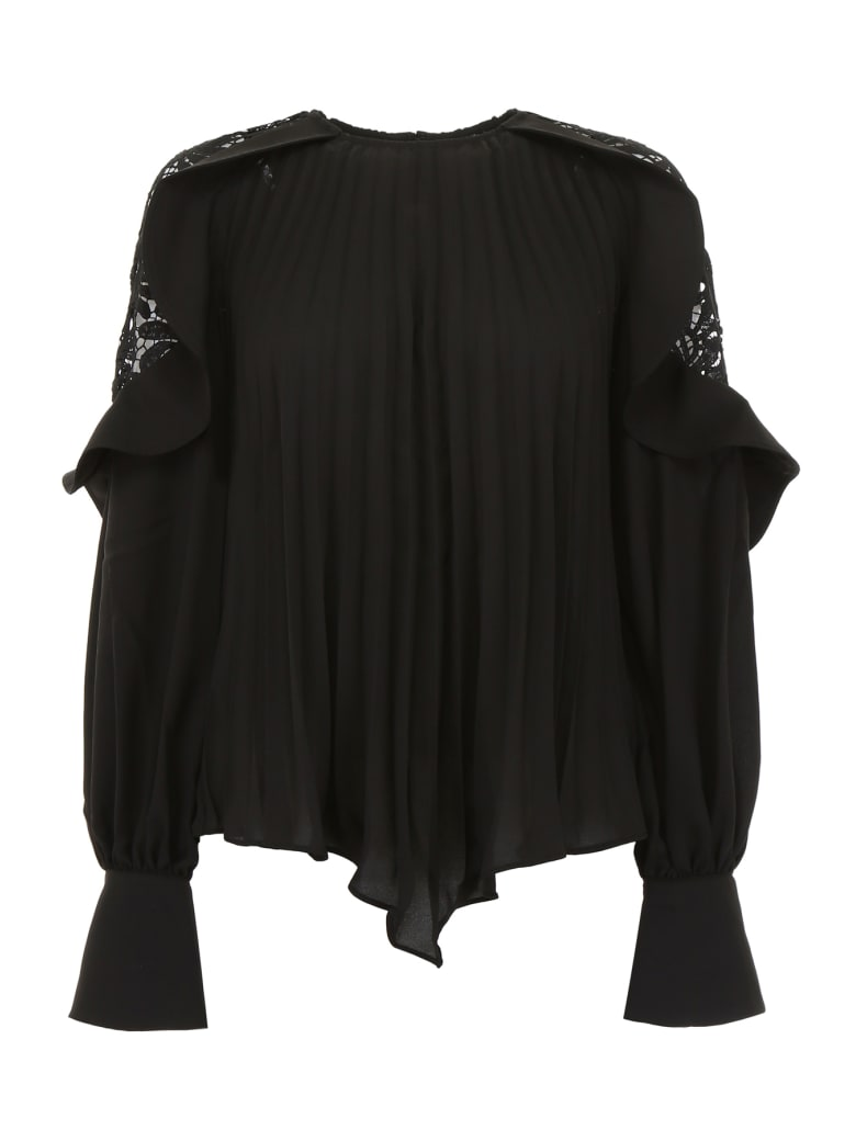 self-portrait Pleated Top With Lace Details - BLACK (Black)