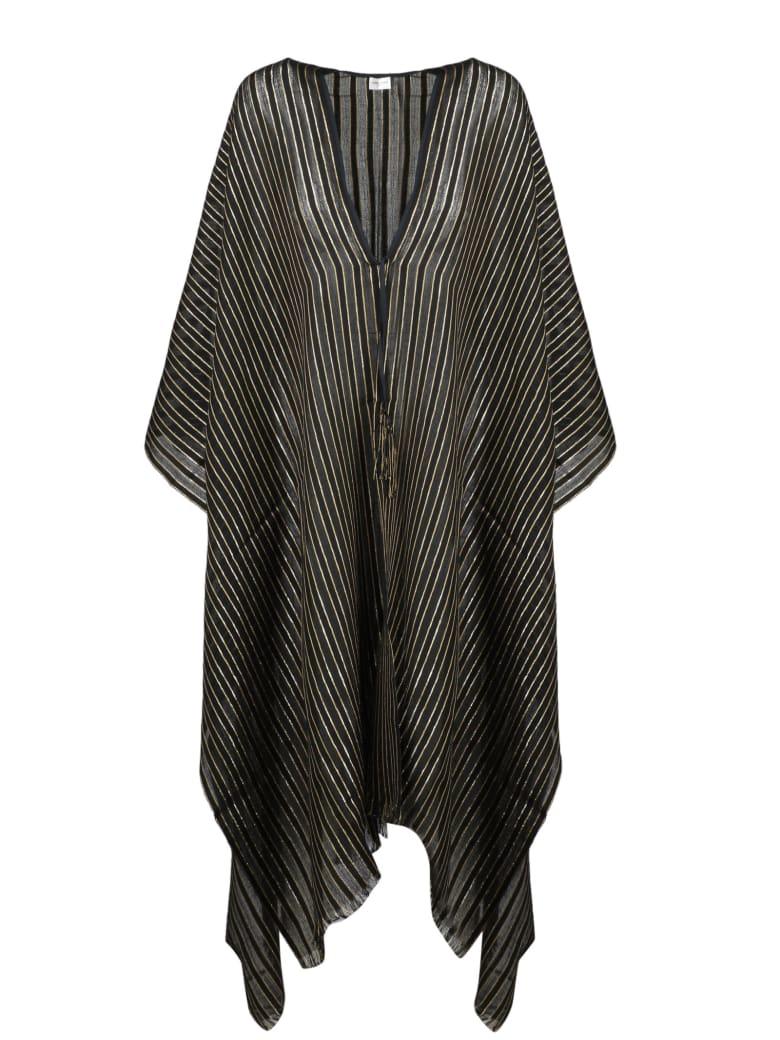 Saint Laurent Fringed Striped Poncho - Black