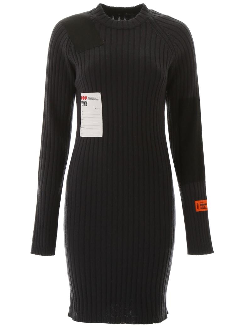 HERON PRESTON Ribbed Knit Dress - OFF BLACK MULTICOLOR (Black)