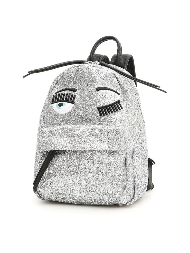 Chiara Ferragni Small Glitter Flirting Backpack - SILVER (Silver)