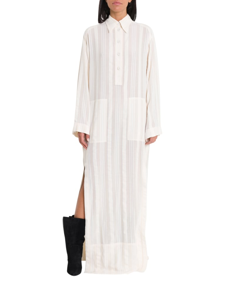 Philosophy di Lorenzo Serafini Long Dress With Shirt Collar And Slits - Bianco