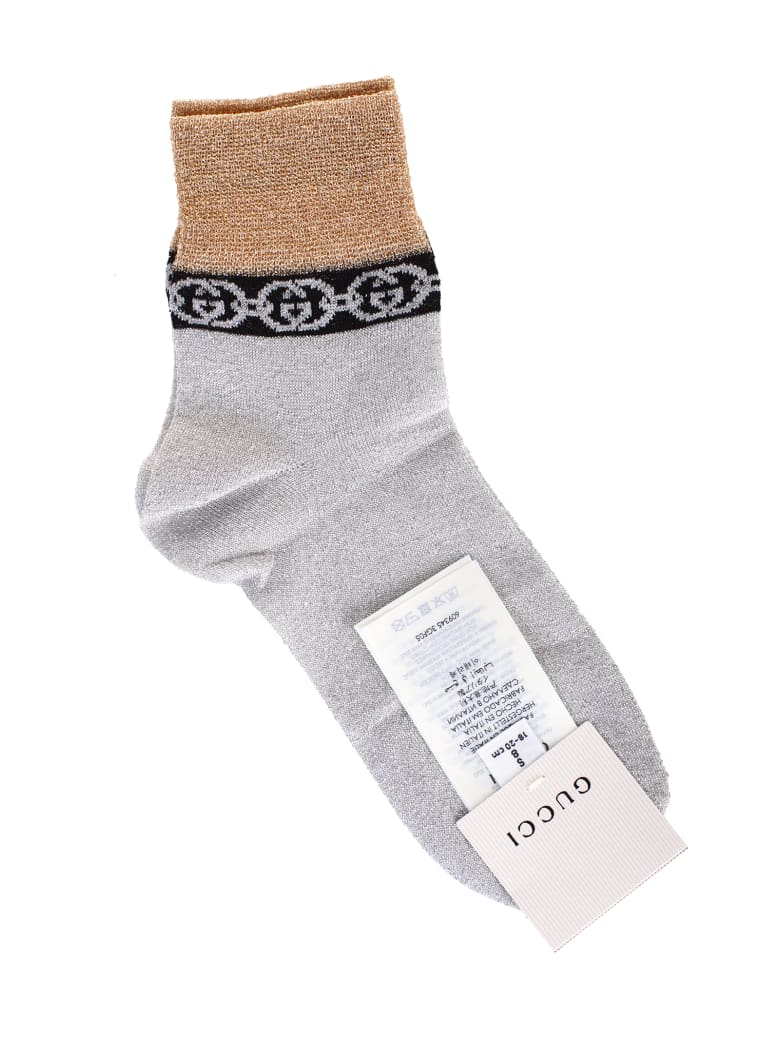 Gucci Silver And Gold Lamé Socks by Gucci