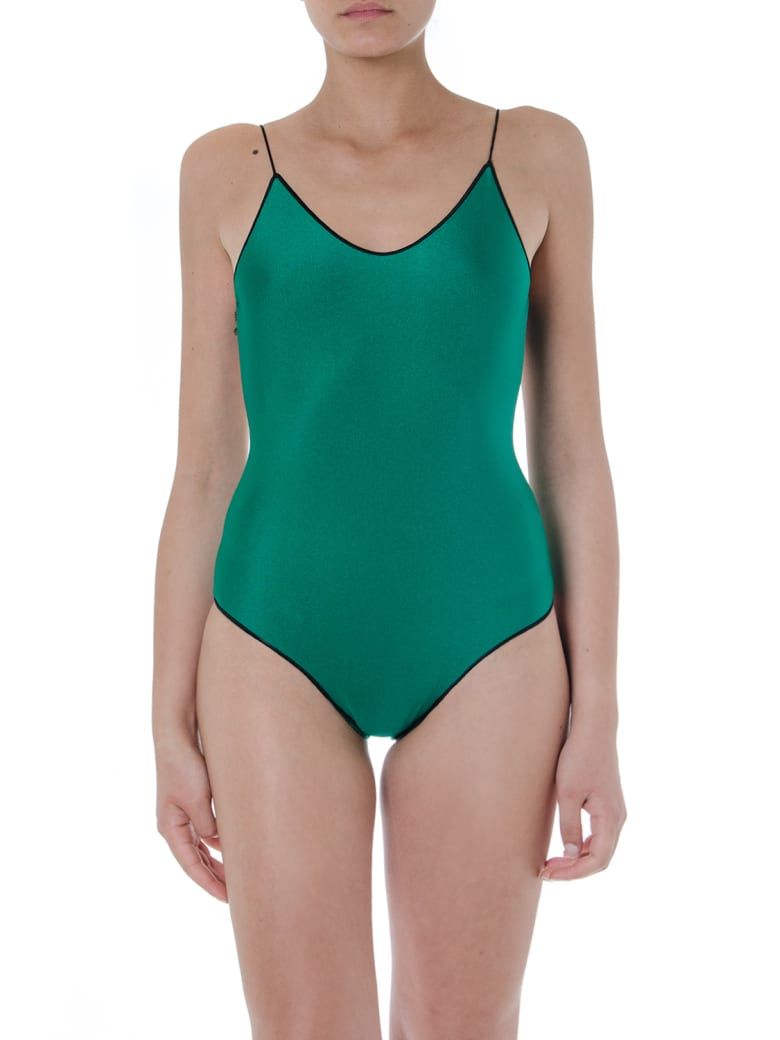 Oseree Green And Black Travaille Swimsuit - Green/black