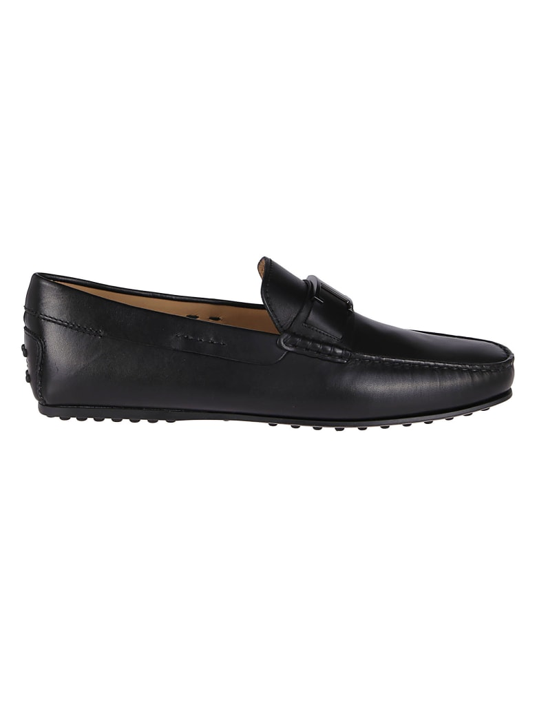 Tod's Black Leather Gommino Loafers - Black