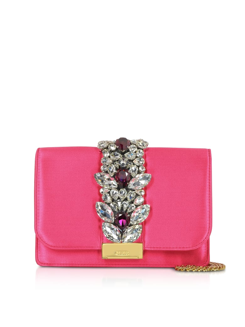 Gedebe Satin Cliky Clutch - Hot Pink