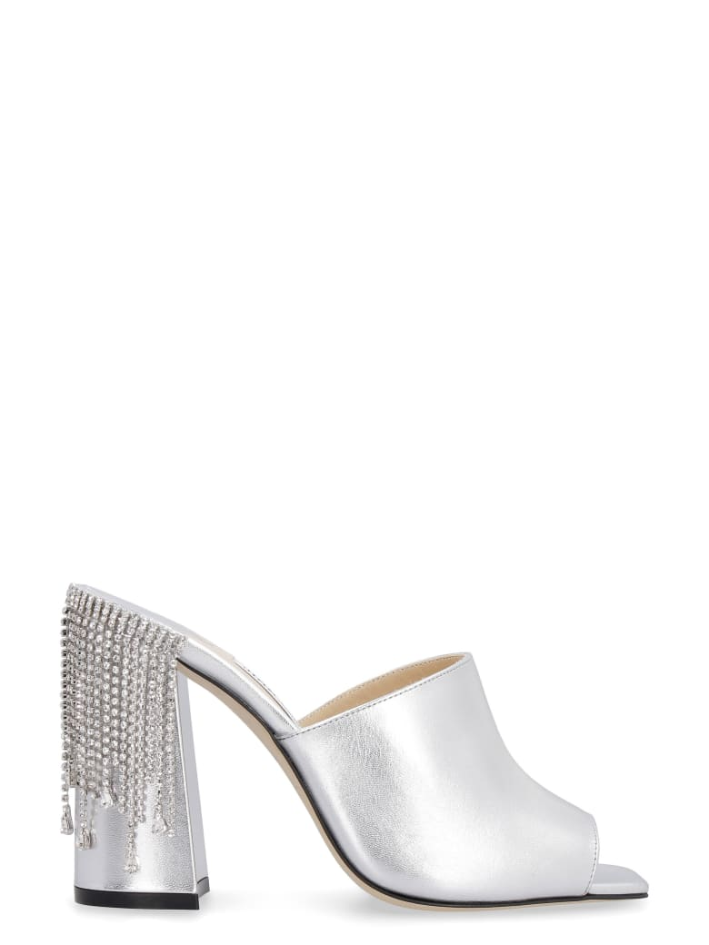 Jimmy Choo Baia Leather Mules - silver