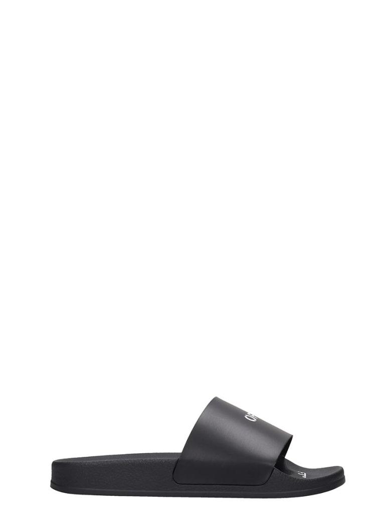 Off-White Pool Slider Flats In Black Rubber/plasic - black