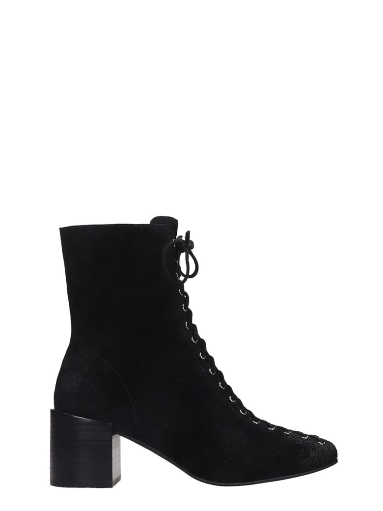 Jeffrey Campbell Belmondo High Heels Ankle Boots In Black Suede - black