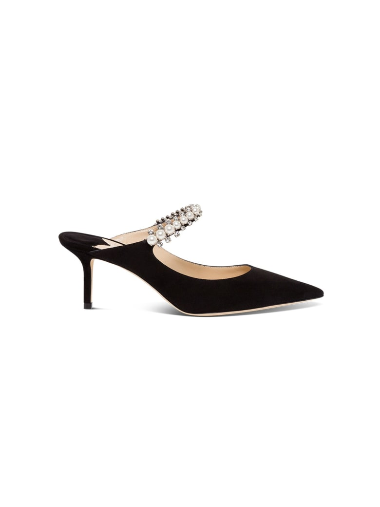 Jimmy Choo Suede Mules With Pearl And Swsrovski Detail - Black