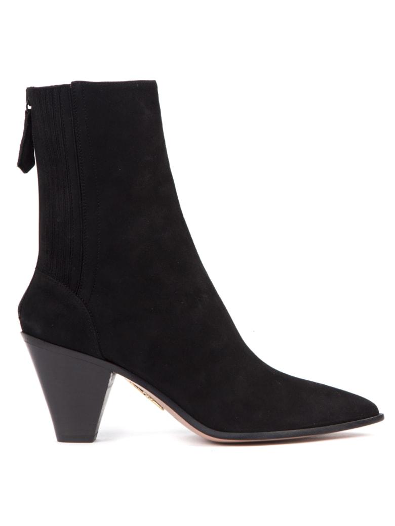 Aquazzura Black Suede Saint Honore Ankle Boots - Black