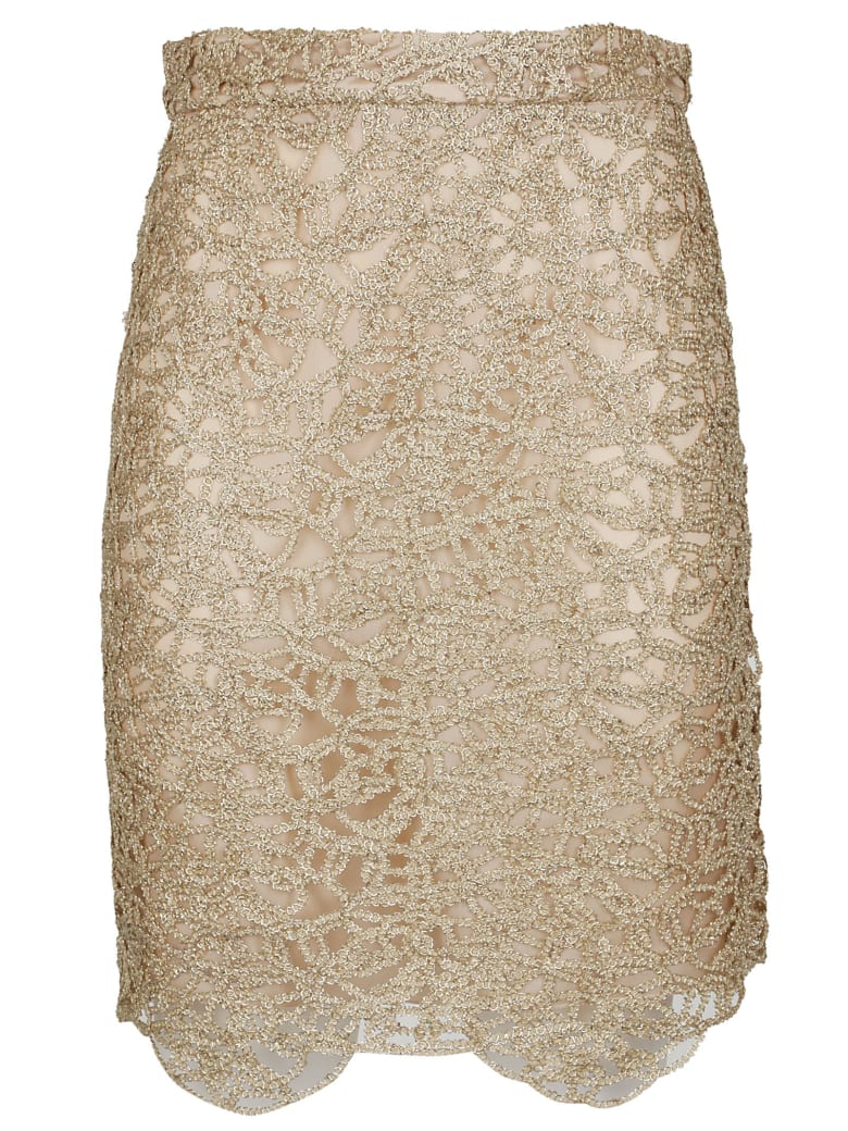 Boutique Moschino Chain Detail Skirt - Gold