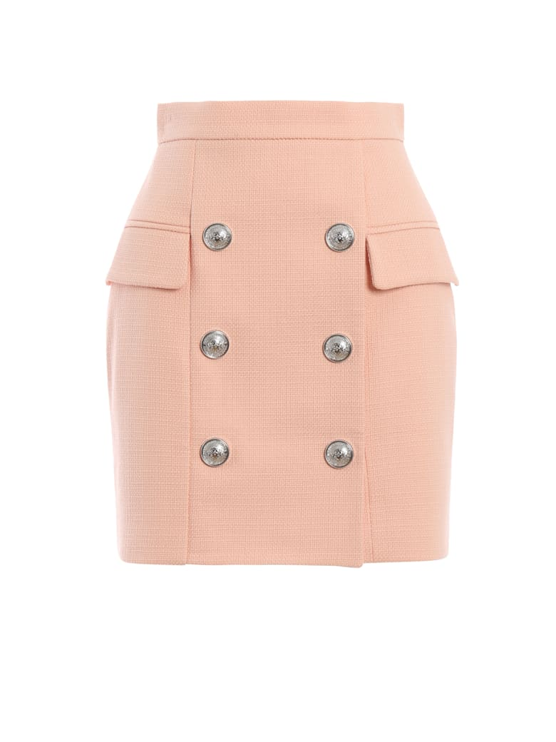 Balmain Pink Natte Cotton High Waist Mini Skirt - Pink