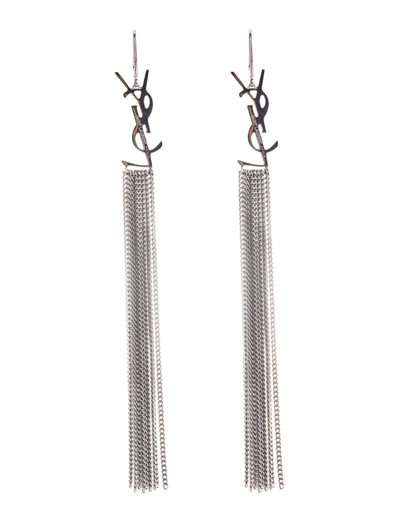 Saint Laurent Monogramm Chain Earrings - Metal argent