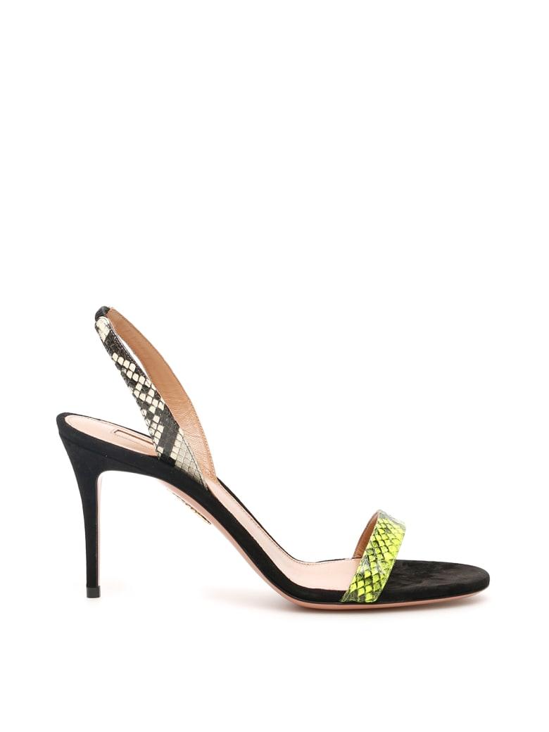 Aquazzura So Nude Sandals 85 - ACID GREEN ROCCIA BLACK (Green)