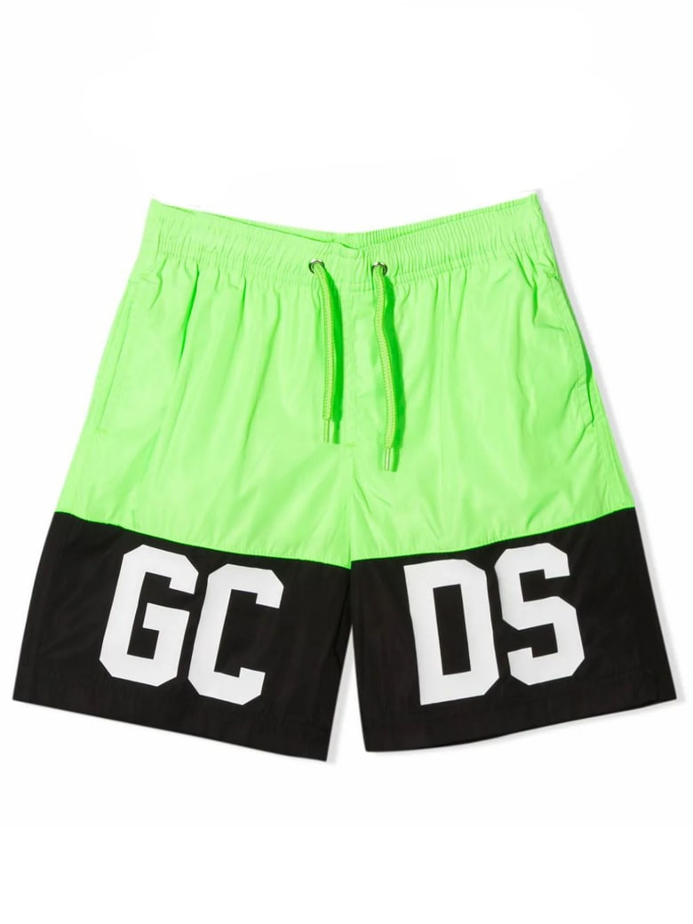GCDS Black And Green Logo Swim Shorts - Verde