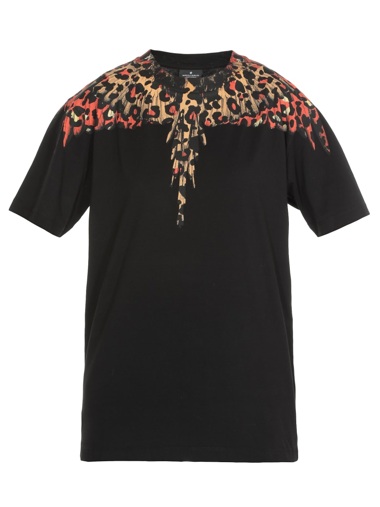 Marcelo Burlon T-shirt Leopard Wings - BLACK MULTICOLOR