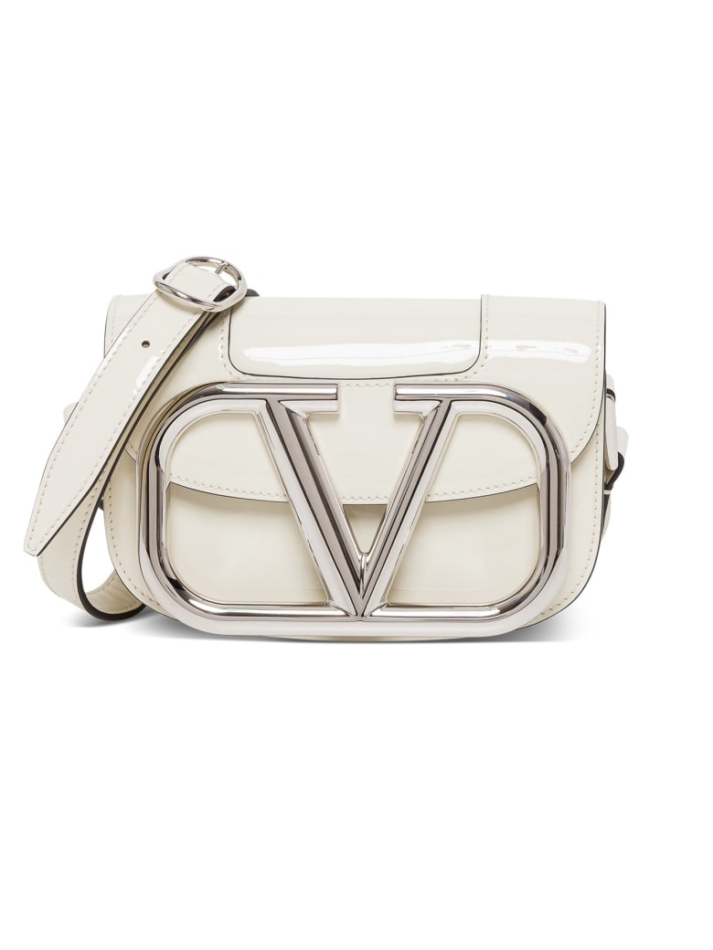Valentino Flap Logo Plaque Shoulder Bag - Light Ivory