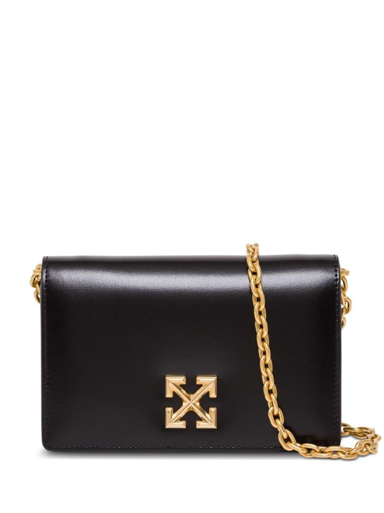 Off-White Twist Jitney 0.5 Crossbody Bag In Black Leather - Black
