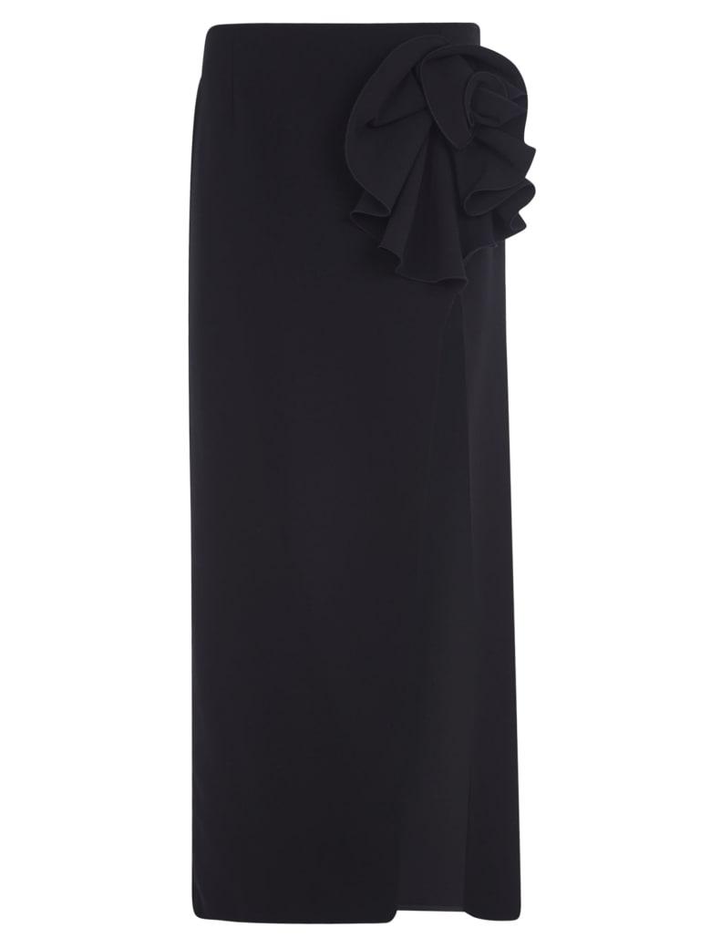 Magda Butrym Side-slit Floral Applique Long Skirt - Black