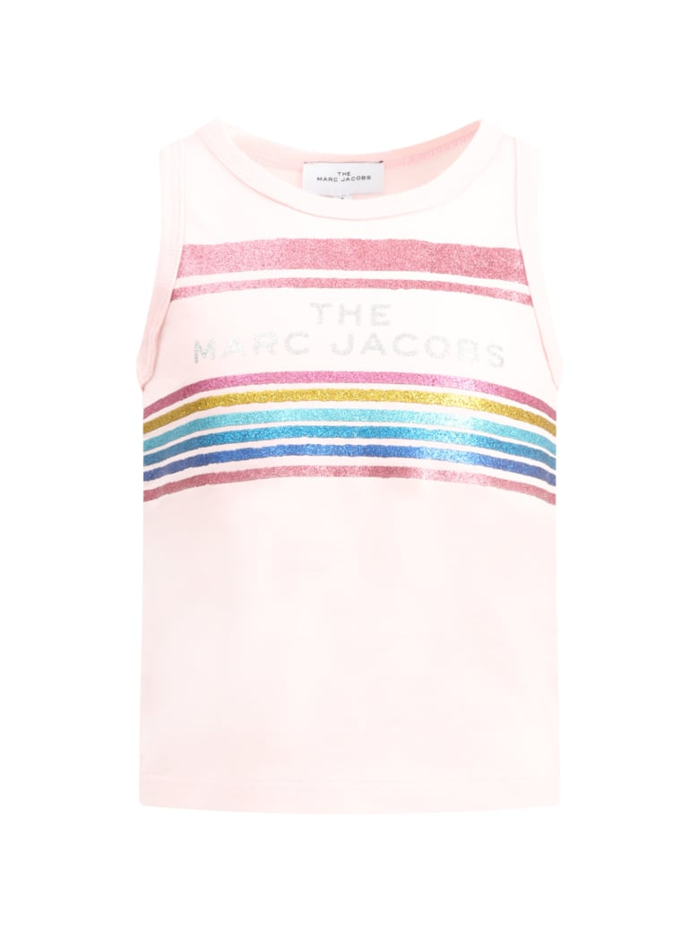 Little Marc Jacobs Pink Tank For Girl With Logo - Pink