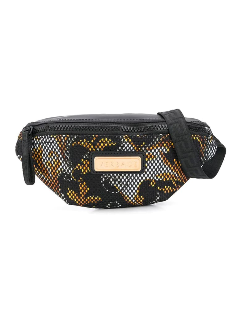 Young Versace Black And White Pouch With Print - Nero/oro