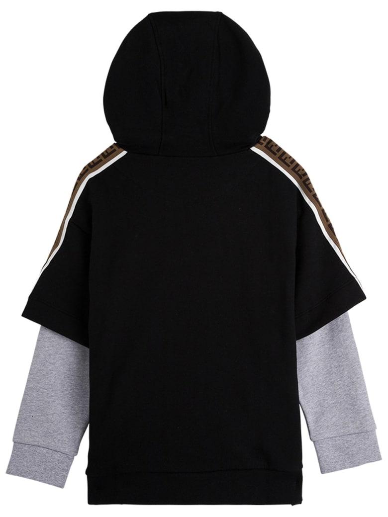 Fendi Bicolor Cotton Hoodie With Logo - Black