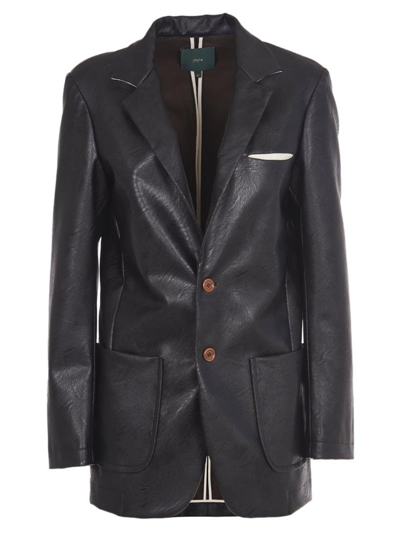 Jejia Black Faux Leather Blazer - Black