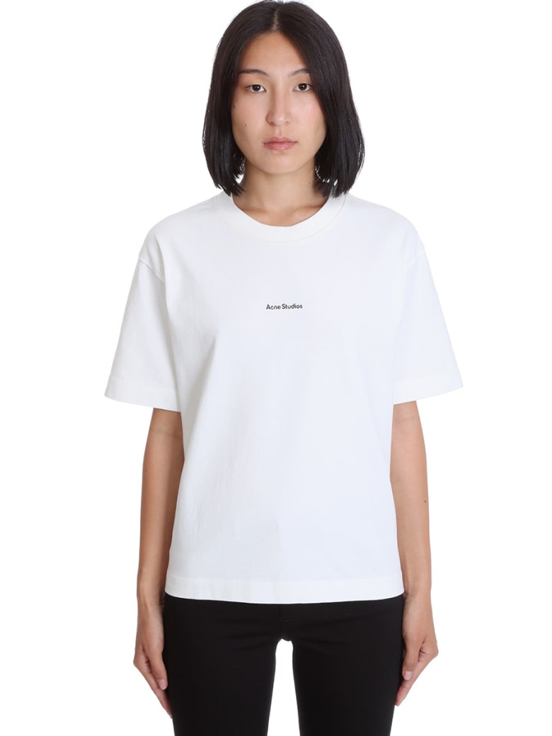 Acne Studios Edie Stamp T-shirt In White Cotton - white