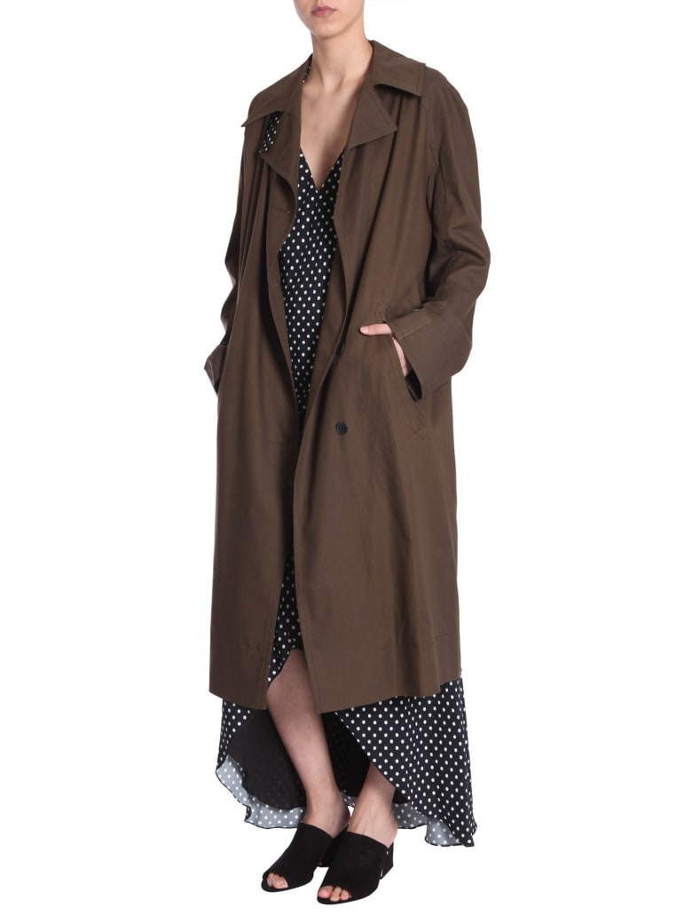 Haider Ackermann Trench Coat With Raglan Sleeves - VERDE