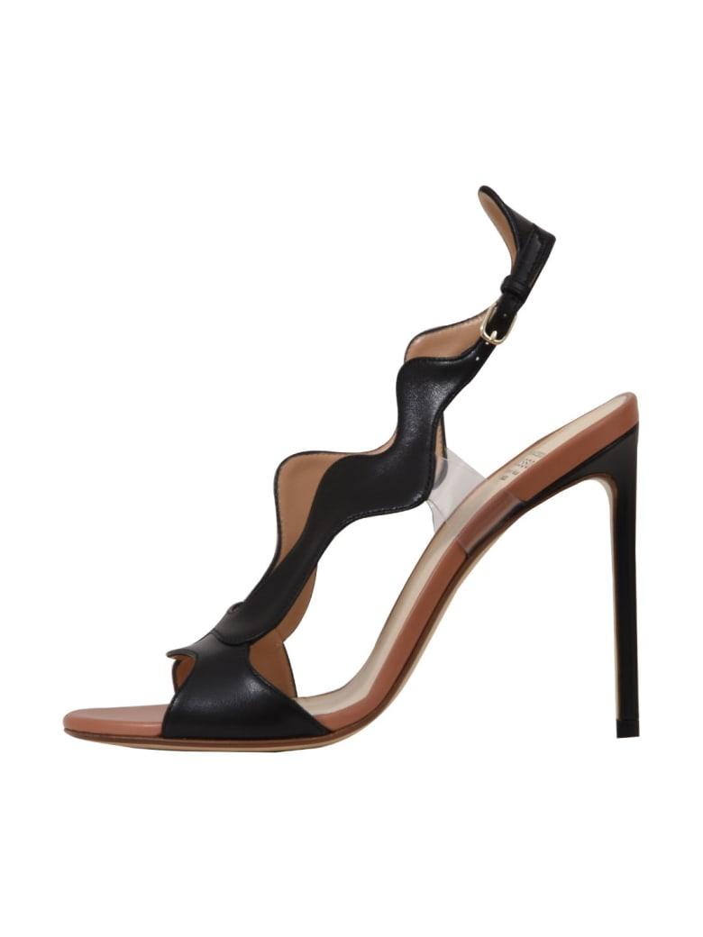 Francesco Russo 10,5cm Black Wavy Sandals - Black