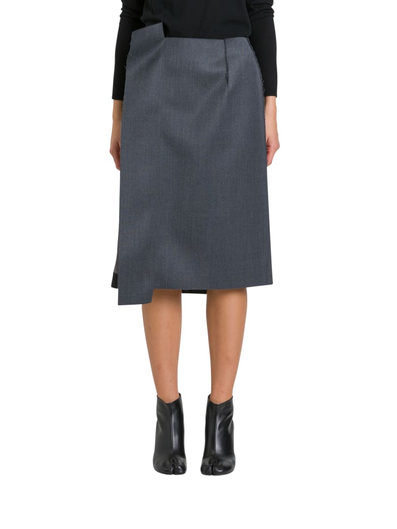 Maison Margiela Unfinished Pencil Skirt - Grigio