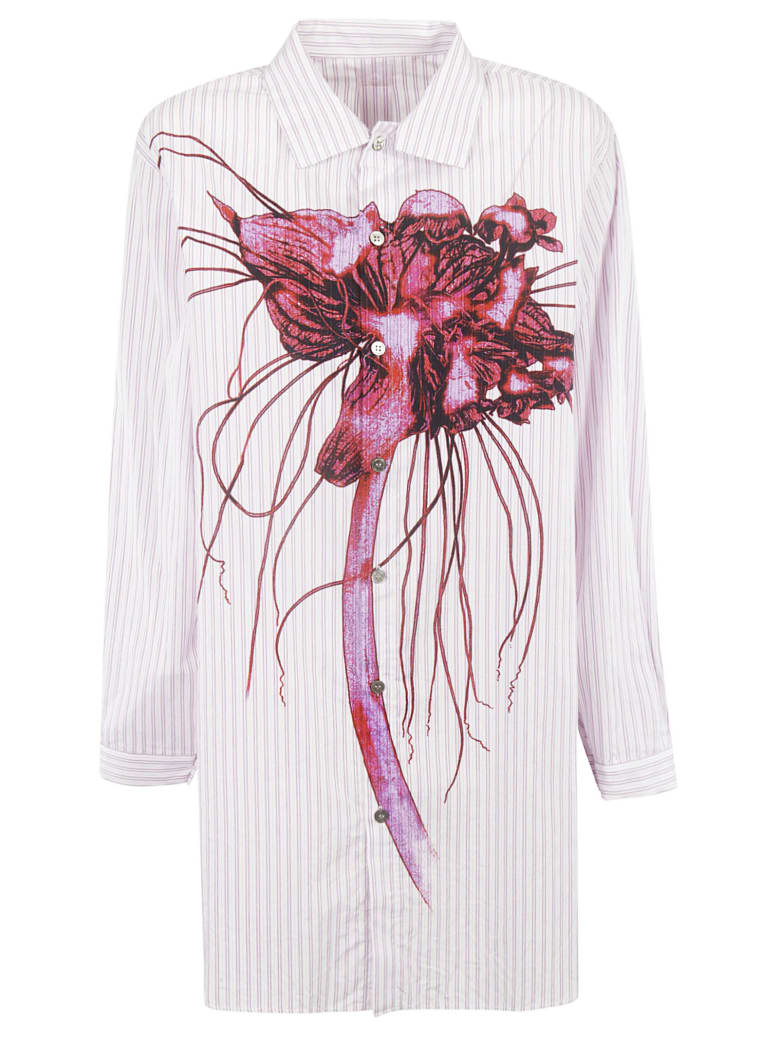 Y's Floral Print Striped Shirt - Light pink