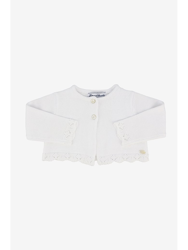 Tartine et Chocolat Embroidered Cardigan - Bianco
