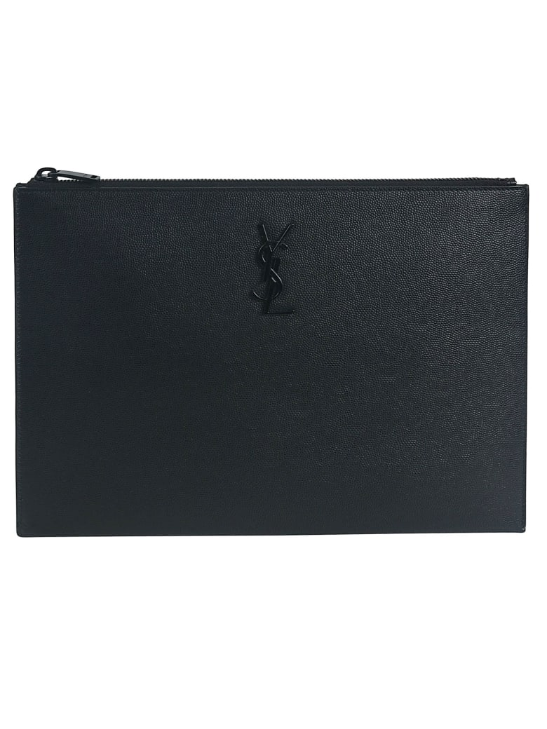 Saint Laurent Logo Plaque I-Pad Holder - Black