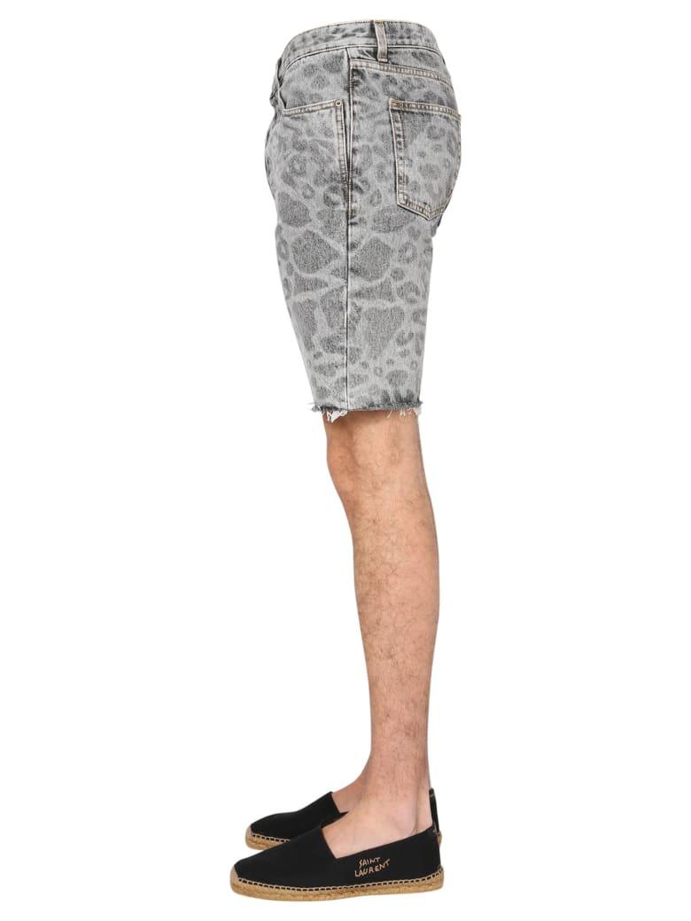 Saint Laurent Shorts With Spotted Print - Blu Denim