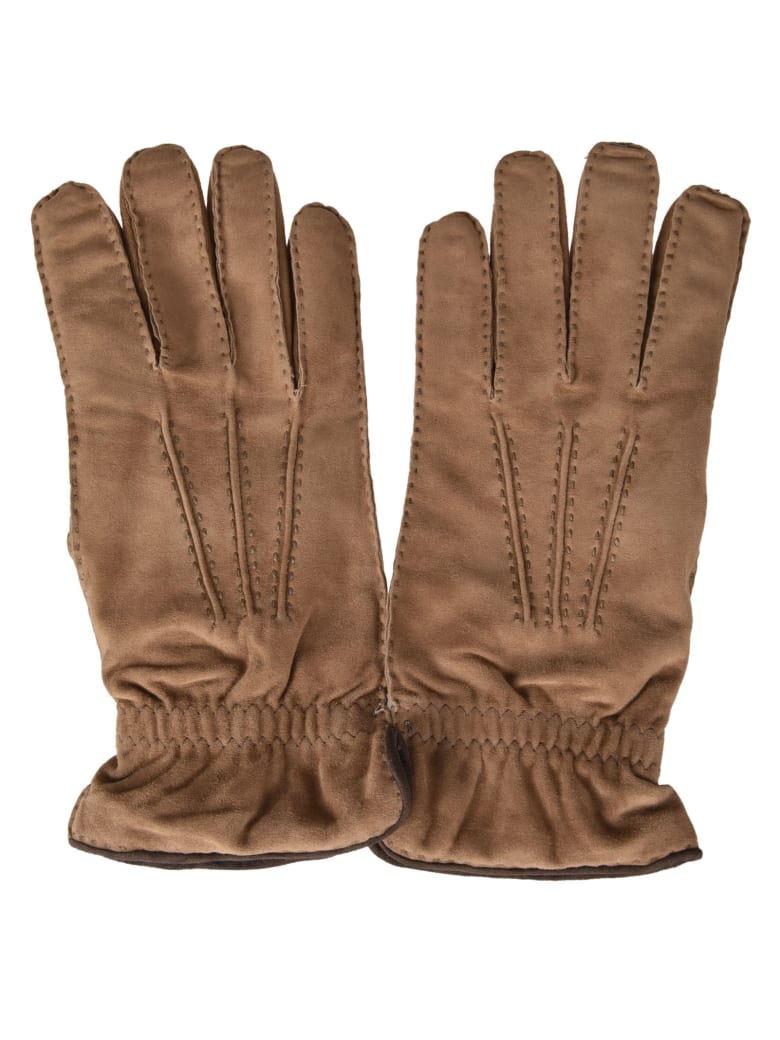Fedeli Stitched Gloves - Beige