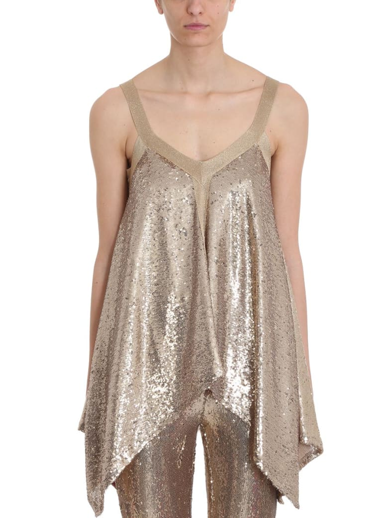L'Autre Chose Gold Sequins Foulard Top - gold