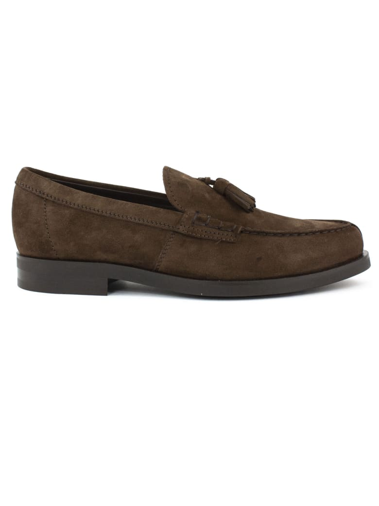 Tod's Loafers In Brown Suede - Caffe