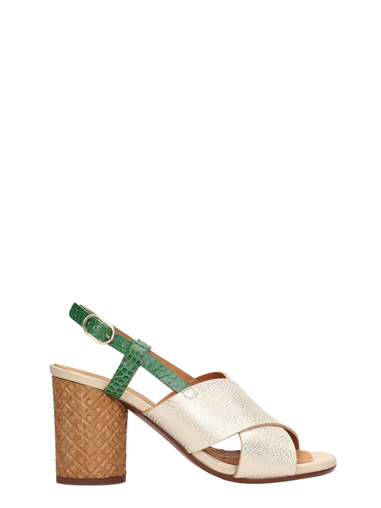 Chie Mihara Gold Metallic Leather Sandals - gold