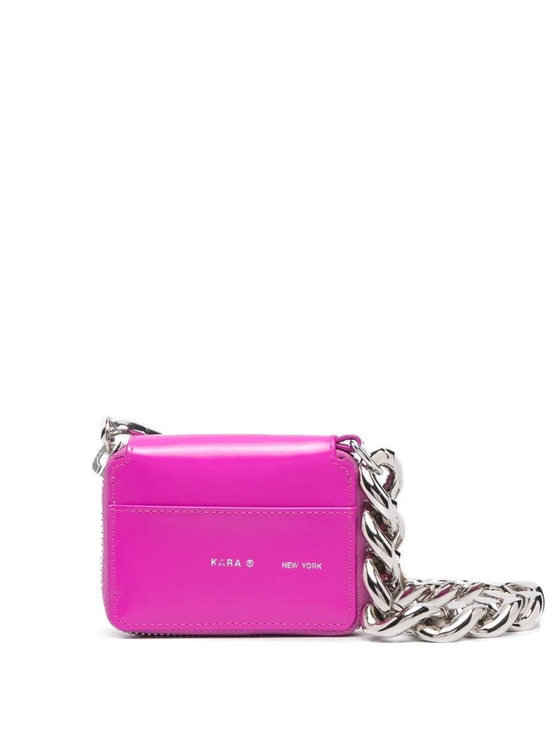 Kara Leather Bike Crossbody Wallet - Fuxia