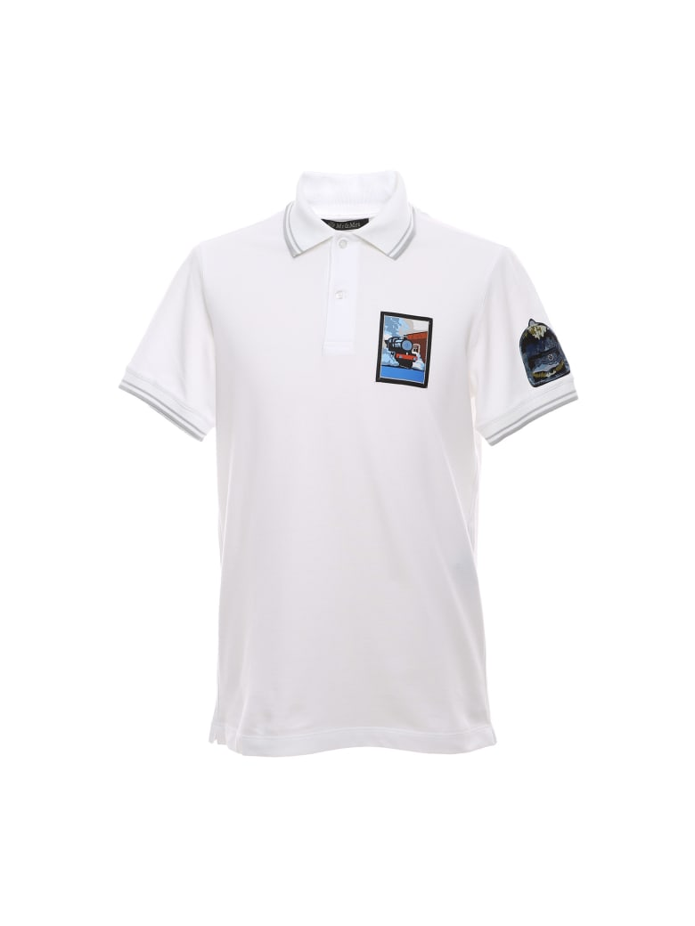 Mr & Mrs Italy Regular Polo Shirt With Embroidered Patches - WHITE