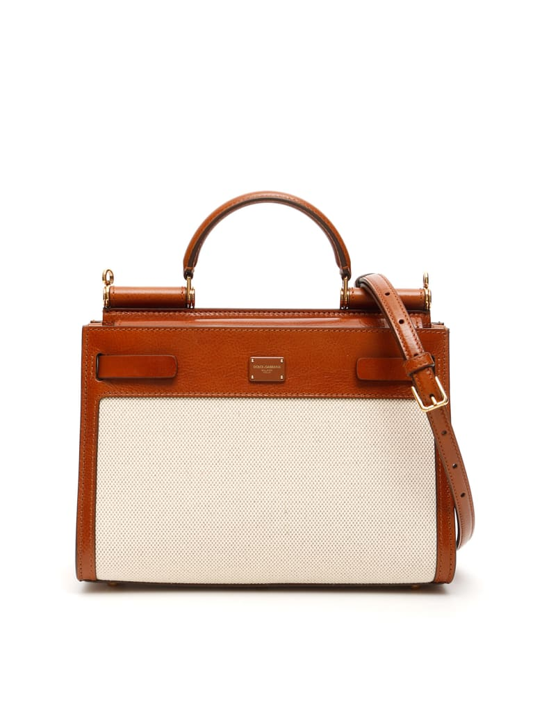 Dolce & Gabbana Sicily 62 Leather And Canvas Bag - Beige
